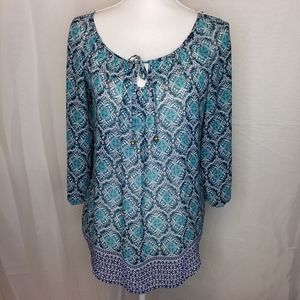 Maurices green and blue with crochet back top S